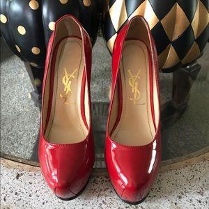 🔥 YSL Yves Saint Laurent Red Platform Heels